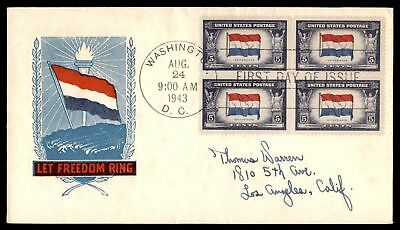 Mayfairstamps US FDC 1943 NETHERLANDS FLAG BLOCK CACHET SEALED