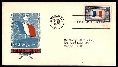 Mayfairstamps US FDC 1943 FRANCE FLAG US 5c ISSUE CACHET UNSEALED