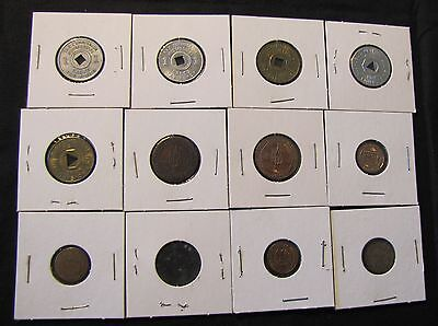 Lot of 12 Sales Tax Tokens - AL, NM, 4x AZ, 2x LA, 3x MS, MO