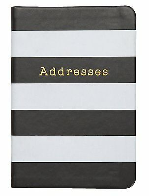C.R. Gibson Stationery Small Address Book – Black / White Stripe A6-16853