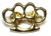 Gold coloured Knuckle busters Quality Lapel Pin Badge - biker Men's shed sports