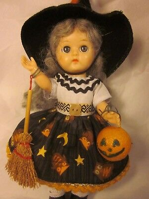 Vintage Wide Eyed Ginger Doll in handmade Halloween WITCH Costume Auntie Apple