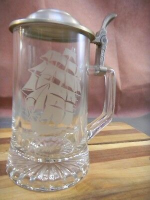 CUI Italy Old Spice Clear Glass & Pewter Lidded Beer Stein Etched Ariel 1866