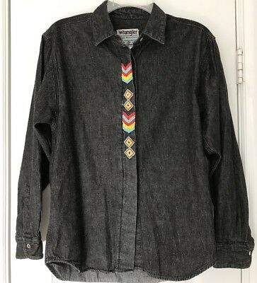 WRANGLER Authentic Western VINTAGE 80s Womens Beaded SW Style Button Shirt S VTG