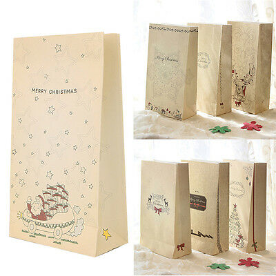 8 Pcs Kraft Paper Xmas Party Holiday Cookies Present Gift Bag Luxury Wedding Bag