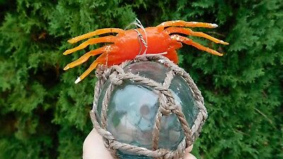 Beachcombed Genuine Japanese Glass Float W/ Crab Shaped Orange Squid Jig