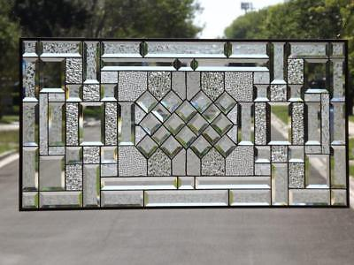 """•Reflection's in Clear•Huge Beveled Stained Glass Window Panel -38 1/2""""x18 1/2"""""""