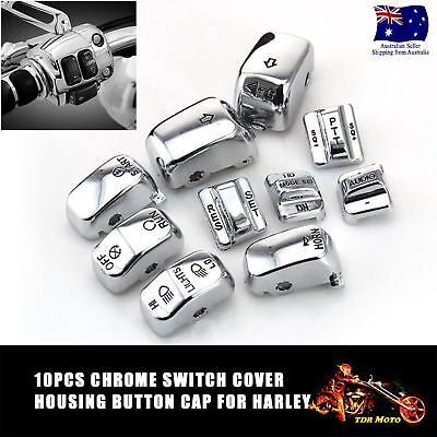 10pcs Chrome Control Switch Cover Button Caps For Harley Dyna Low Rider FXDL AU