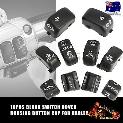 10pcs Black Control Switch Cover Button Caps For Harley Super Glide Custom FXDC