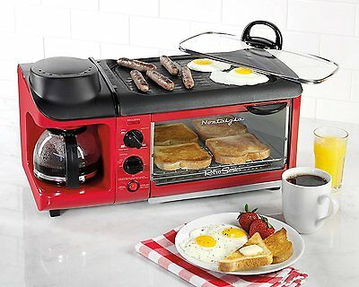 Breakfast Station 3 in One Red Family Size Griddle Coffee Maker Toaster Oven NEW