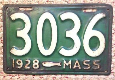 1928 Massachusetts Codfish Fish Low Number 4 Digit License Plate # 3036 Auto Tag