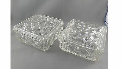 2 SQUARE CUT GLASS BOWLS WITH LIDS can be used for Jewellery or Candy