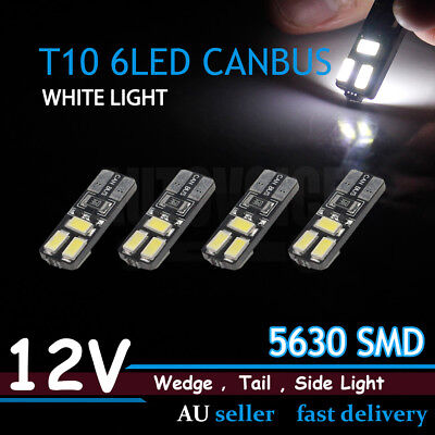 4pcs No Error T10 W5W 194 168 6 SMD Car Wedge Parker Number Plate LED Bulb WHITE