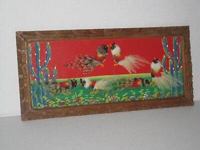 Vintage Mexican Folk Art Feather Craft Bird Pictures Carved Wood Frame 15 In.