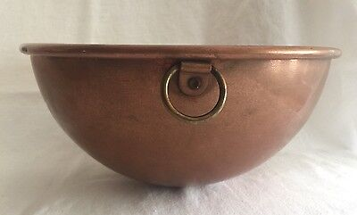 "Vintage Copper Beating Bowl 12.75"" spun heavy gauge thick wall"