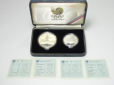 SEOUL 1988 OLYMPIC SILVER PROOF COIN SET Olympiad KOREA WON medal scrap sterling