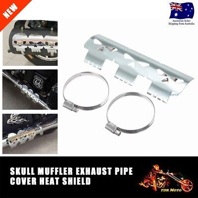 Skull Exhaust Muffler Pipe Heat Shield Cover Heel Guard For Harley Electra Glide