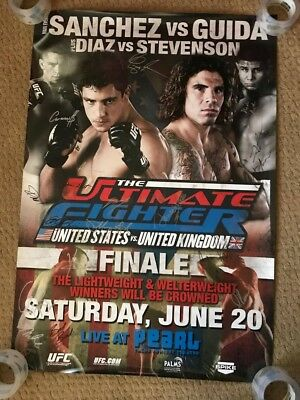 Official UFC The Ultimate fighter finale Sanchez vs Guida signed Poster 27x39