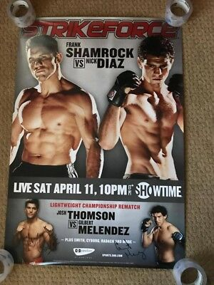 Official strikeforce shamrock vs diaz Poster 27x39 signed by 2 fighters
