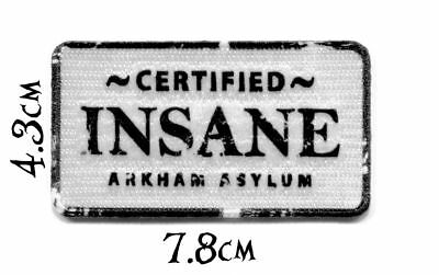 Quality Iron/Sew on Batman Certified Insane Arkham Asylum Patch DC Comics joker