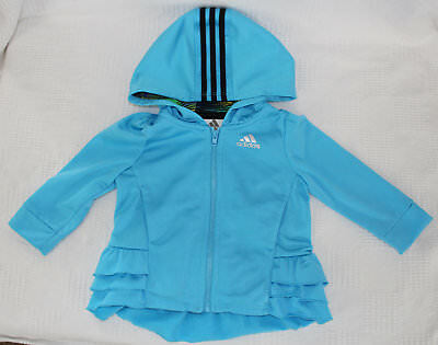 Girls Turquoise Adidas Hooded Jacket Size 12M Zipper Front