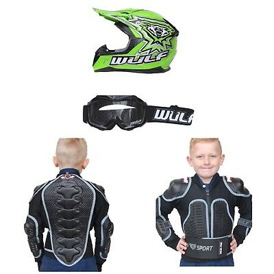 Wulfsport Kids Helmet Goggles And Body Armour Package Quad MX GREEN Best Price