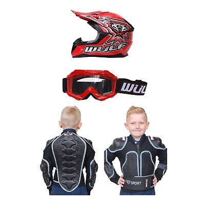 Wulfsport Kids Helmet Goggles And Body Armour Package Quad MX RED Best Price