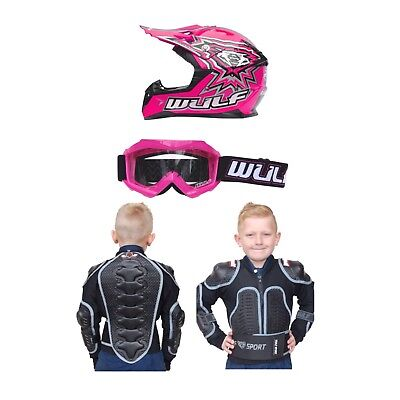 Wulfsport Kids Helmet Goggles And Body Armour Package Quad MX PINK Best Price