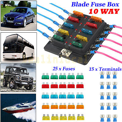 10-Way Blade Fuse Box Block Holder LED Indicator for 12V 24V Car Marine 25 Fuses
