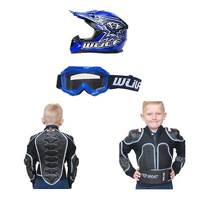 Wulfsport Kids Helmet Goggles And Body Armour Package Quad MX BLUE Best Prices
