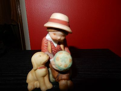 Vintage Holly Hobbie Friend Boy With Dog And Ball