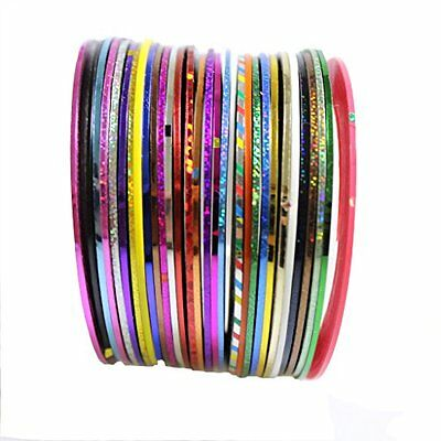 2 Rouleaux striping decoration ongle FIL BANDES STICKER NAIL ART AUTOCOLLANT