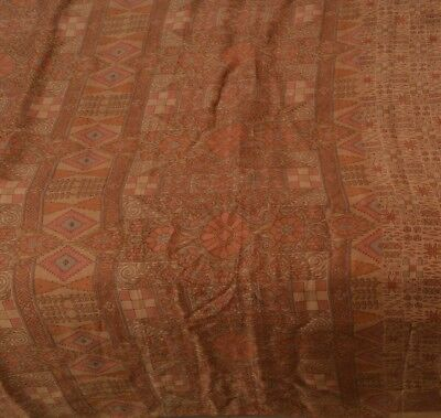 Vintage 100% Pure Silk Cultural Saree Brown Printed Sari Craft 5 Yard Fabric