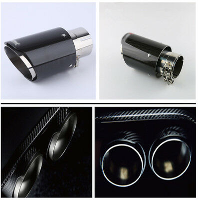 Real Carbon Fiber Steel Exhaust Tip 63MM IN-89MM OUT End Pipe Tip for Auto Car