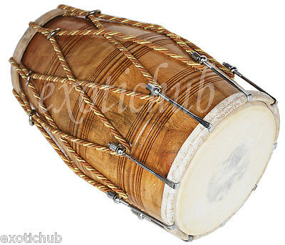 Dholak Drums~Rope +Bolt Tuned~Dholki~Use For Bhajan~Kirtan~Yoga~Hand Made Indian