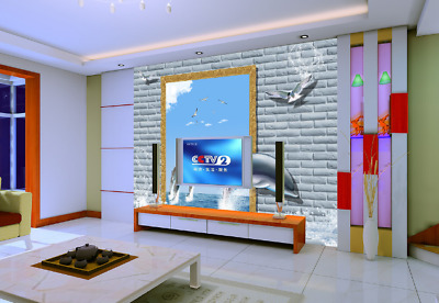 3D Dolphins Style 735 Wall Paper Murals Wall Print Wall Wallpaper Mural AU Kyra
