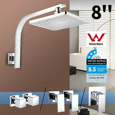 "WELS 8"" ABS Square Rainfall Filter Shower Head Gooseneck Wall Arm Set Mixer Taps"