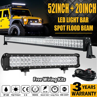 "52"" 700W + 20"" 294W Led Work Light Bar Spot Flood Combo Offroad Driving Lamp 4WD"