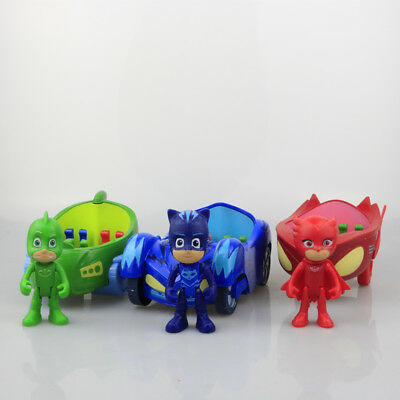 3pcs/Set PJ Masks Characters Catboy Owlette Gekko With Car Toys Action Figure