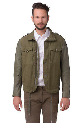 RRP €500 DIESEL Size L Men's LADING Genuine Leather Sleeve Military Jacket
