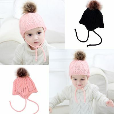New Cute Baby Toddler Girls Boys Warm Hat Winter Earflap Knitted Beanie Hat Cap