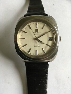 Vintage Chunky Tissot Stainless Steel Quartz Wrist Watch For Spares Or Repairs