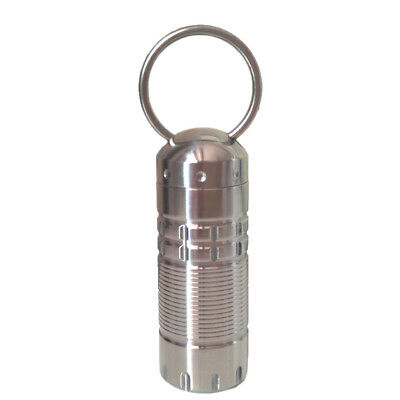 5.5cm Titanium Alloy Outdoor EDC Waterproof Capsule Key Chain Seal Pill Bottle@