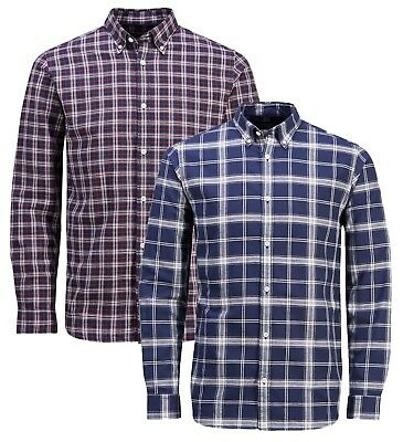 JACK & JONES Premium Long Sleeve Shirt Mens Slim Fit Check Casual Smart Shirts