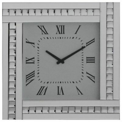 Silver Square Clock with White Mirrored Glass Frame Modern Home Decor Litecraft