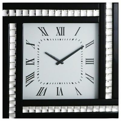 Black Square Clock with White Mirrored Glass Frame Modern Home Decor Litecraft