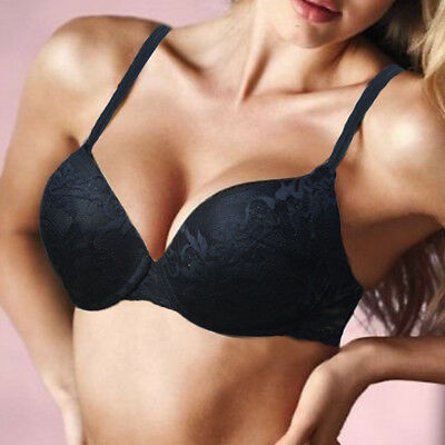 Womens Lace Push up Sexy  Bra lightly Padded Plunge Underwire Bras Brassiere