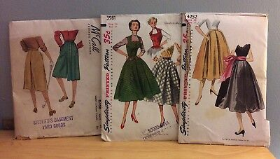 Vintage 40s 50s Women's Sewing Pattern Lot of 3 McCalls Simplicity Culotte Skirt