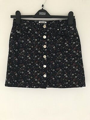 Miss Selfridge Floral Denim Button Up Skirt Size 10