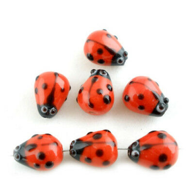 20Pcs Ladybug Lampwork Glass Spacer Beads Red 15x10mm D2P9